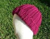 Merino Stocking cap, watchcap, longshoremans hat, beanie, skull cap purple fuchsia plum