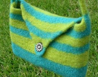 Charleston purse hand knit felted bag blue and lemon green