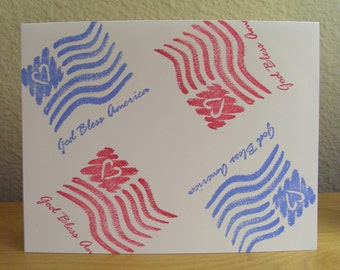 Stampin Up God Bless America unmounted  unused special edition rubber stamp
