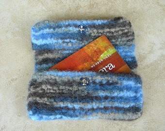 Credit card case business card case gift card holder lipstick keeper coin purse jewelry keeper wallet felted bag blue watercolor dreams