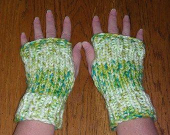 Fingerless Gloves wrist warmers fingerless mittens in apple green yellow hand knit ribbing and stockinet stitch