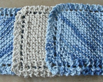 Face Scrubbie facecloth washcloth blue ecru or natural hand knit set of 3