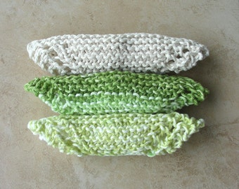 Face Scrubbie facecloth washcloth green ecru/natural hand knit set of 3