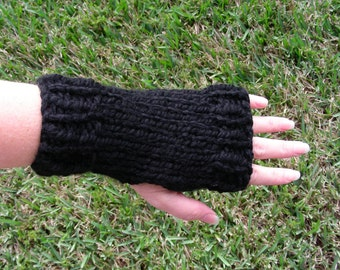 Fingerless Gloves wrist warmers fingerless mittens black hand knit ribbing and stockinet stitch