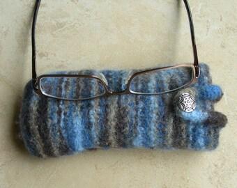 Eyeglass Case blue beige brown variegated felted hand knit loop to secure glasses