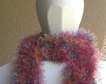 Faux Fur Scarf hand knit fun fuzzy pink blue green yellow long scarf