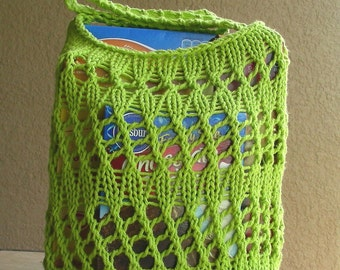 Farmers Market Bag String Bag Grocery Bag Beach Bag Tote reuseable lime green hand knit in 100% cotton