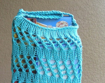 Farmers Market Bag String Bag Grocery Bag Beach Bag Tote reuseable turquoise blue hand knit in 100% cotton