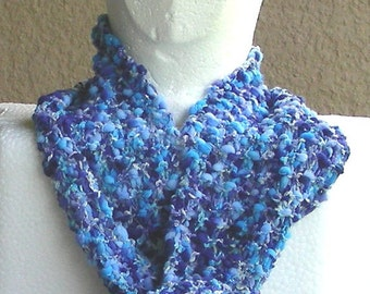 Scarf multicolored blue navy grey white metalic hand knit textured.
