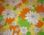 Retro 70s  Bright  Orange Green and Yellow Flowers Full Sheet Material
