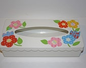 Vintage Metal Spring Hinge Tissure papper holder Flower Power Hand Painted