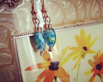 Blue green glass bead earrings