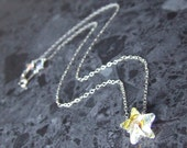 Swarovski Star Necklace Sterling Silver Chain Crystal AB Star Vegan