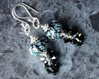 Lampwork Earrings Sterling Silver Swarovski Crystal Black Blue SRA Boro Glass Beads Vegan