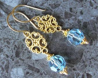 Gold Swarovski Earrings Aqua Crystal 24k Bali Vermeil 14k Gold Fill Vegan
