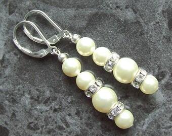 Swarovski Pearl Earrings Cream Sterling Silver Crystal Rondelles Vegan