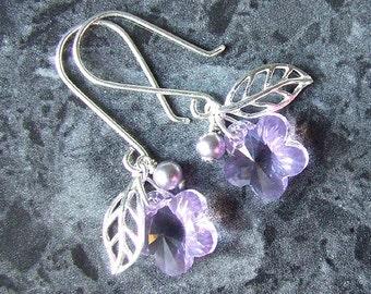 Swarovski Earrings Flower Sterling Leaf Light Purple Violet Crystal Vegan Pearl