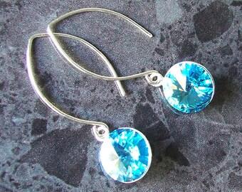 Swarovski Crystal Earrings Aqua Rivoli Sterling Silver Marquise Earwires Vegan Jewelry