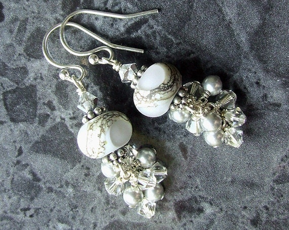 Lampwork Earrings Sterling Silver Swarovski Pearl Crystal Cluster Grey SRA Etched Glass Beads Vegan