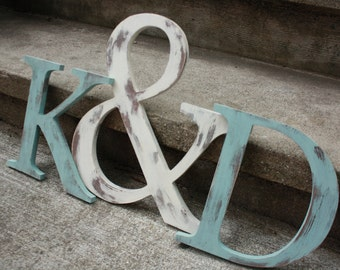 """Initial and Ampersand trio 12"""" and 8"""" sizes wedding, photo prop- you choose COLOR"""