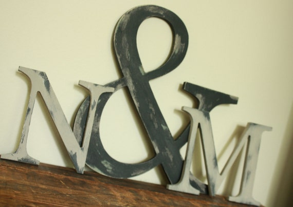 Ampersand and wooden letter trio set, distressed painted vintage wedding decor