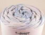 Cotton Tshirt yarn, Light Blue and White Tie Dye, 20 yards, 6 wpi (T067)