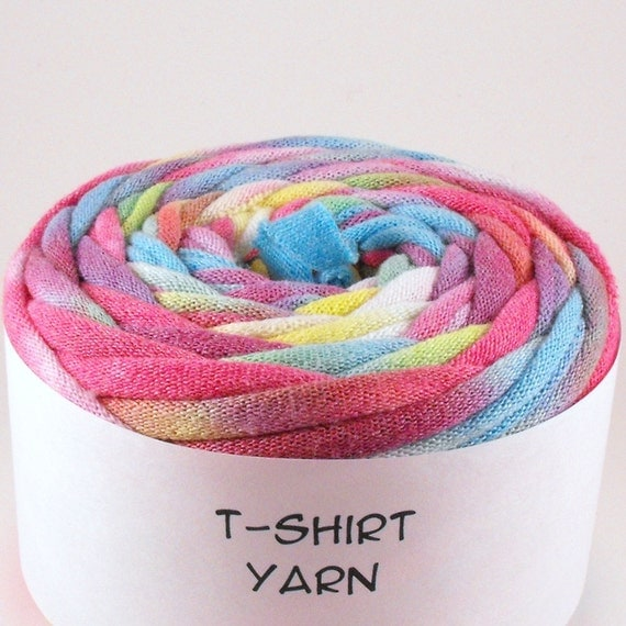 Cotton Tshirt yarn, Easter Egg Rainbow Tie Dye, 24 yards, 6 wpi