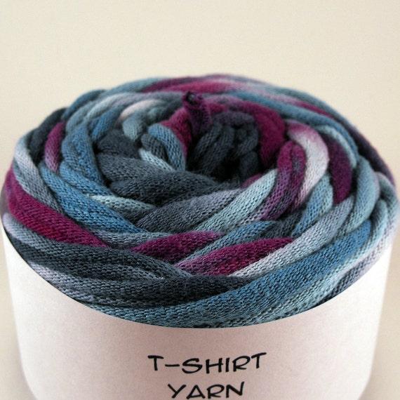 Cotton Tshirt Yarn, Shades of Blue and Purple Tie Dye, 23 yards, 6 wpi