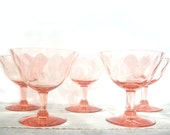 Pink Depression Glass Sherbet Stemmed Glasses Set of 5