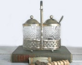 Shabby Silver Condiment Glasses with Caddy and Spoon