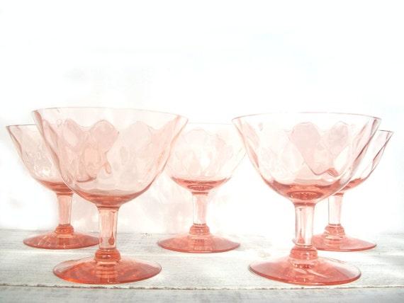 Pink Depression Glass Sherbet Stemmed Glasses Set of 5
