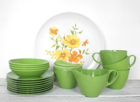 Melmac Like Melamine Dinnerware Set in Springtime Green Floral Design Melamine