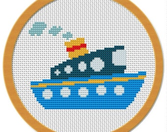 Cross stitch pattern boat PDF file