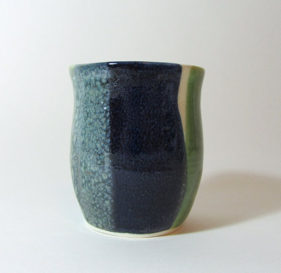 Blue and Green Color Block Vase/ pencil holder