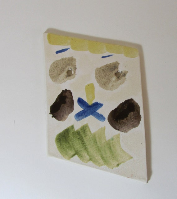 "Abstract ""Weird Face"" Decorative Ceramic Plaque/Trivet"