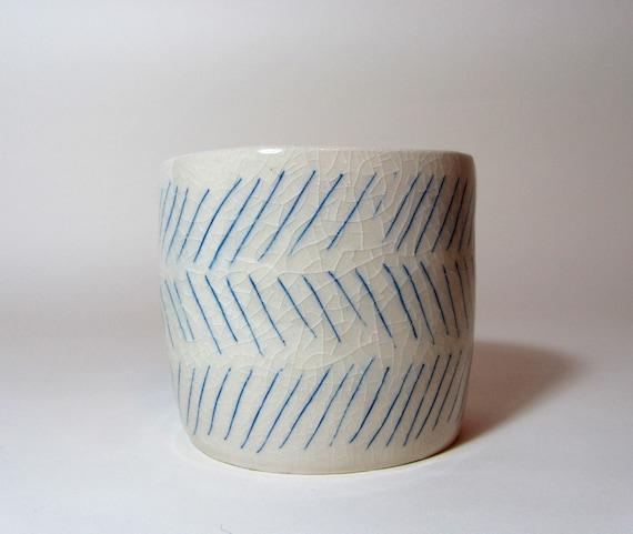 Geometric Minimal Diagonal Blue Lined Ceramic Planter