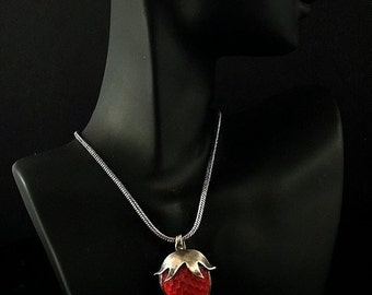 Sterling Silver Strawberry Necklace -  'READY TO SHIP'