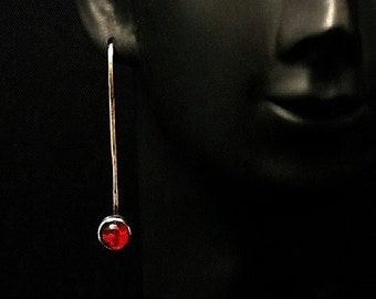 "Sterling Silver/ German Glass Earrings -  Red    ""READY TO SHIP"""