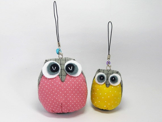 Handmade Mommy And Baby Owl Key Chain - Ready to Ship