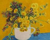 ACEO Dandelion Flowers Still Life Oil Painting Art Print