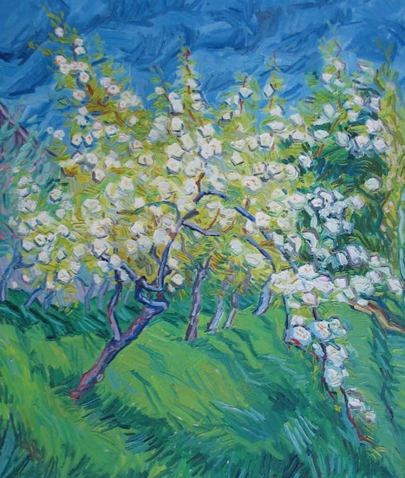 ACEO Blossoming Orchard Oil Painting Art Print