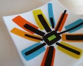 Handmade Fused Glass Plate - Home Decor Interior Gift Retro Modern