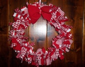 Red and White valentine rag wreath