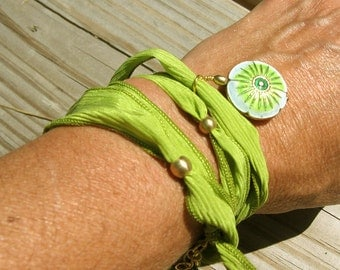 Hand Dyed Silk, Lime Green Wrap Bracelet