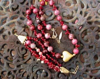 Gemstone Beaded bracelet necklace set Red Aventurine Pink Jasper