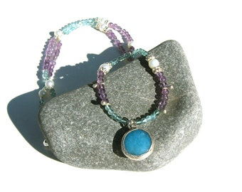 Beaded Gemstone Necklace-Blue Apatite and Amethyst-Silver Necklace