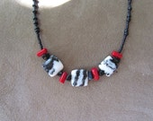 """Black and White Jasper Red Coral Onyx Necklace 18"""""""