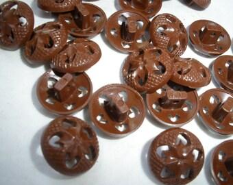 "Cool Vintage Pierced Plastic Buttons Brown 1/2"" Starburst Flower housecoat Shank style size 20L 13MM retro 25 pieces"