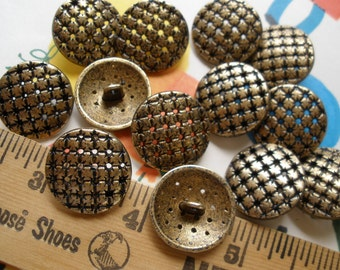"""Pierced metal shank buttons brass/gold starburst size 32L 13/16"""" (20MM) antique gold brass finish dome shape Steampunk rustic cool"""