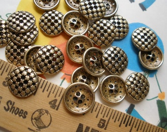 """Steampunk Cool Buttons 24L Pierced metal brass/gold starburst size (5/8"""" 15MM) 4 hole sew on antique gold brass finish"""